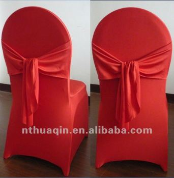 White Lycra Chair Cover With Ribbon For Banquet And