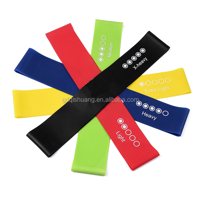 Customized Sport Exercise Set of 5 Resistance Loop Band Bodybuilding