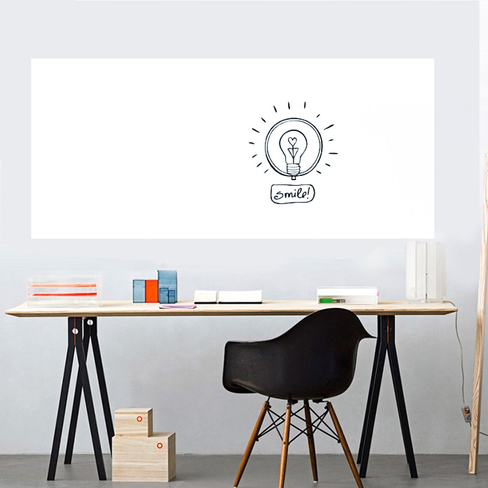 Removable Whiteboard Sticker Dry Erase Whiteboard Wall Decal Peel & Stick Message Board Sticker with a Blue Pen,17.7x78.7 Inches