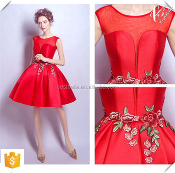 shinny fabric v neckline chic short champagne and red christmas party dresses 2016 made in china