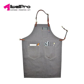 High-quality wash canvas retro work apron use at kitchen with pocket