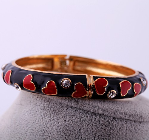 Simple Fashion Zinc Alloy Wholesale Epoxy Red Heart Jet Bangles