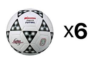 Mikasa America Futsal Ball, Low Bounce Soccer Ball-Size 4, Black/White (6-Pack)