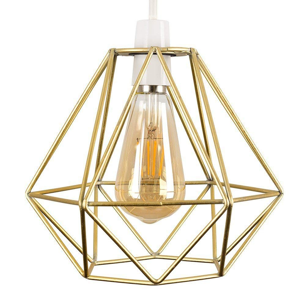 Vintage Pendant Light, Frideko Retro Industrial Metal Iron Wire Cage Diamond Hanging Light for Home Restaurant Bar (Gold)
