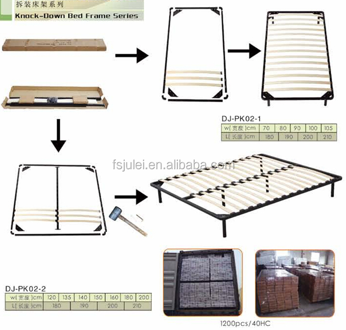 Wholesale Wooden Slats Single Metal Bed Frame
