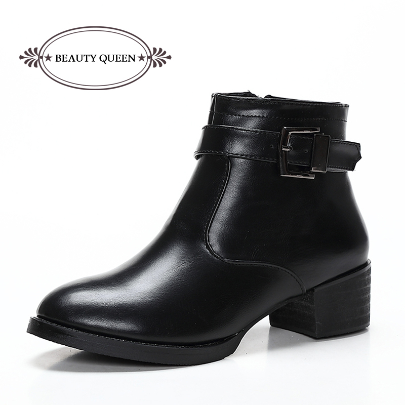 Get Quotations · 2015 Winter Fashion Ankle Leather Boots For Women Thick  Soled Zipper Heel Boots Woman Hasp Motorcycle 8f0dc699089c