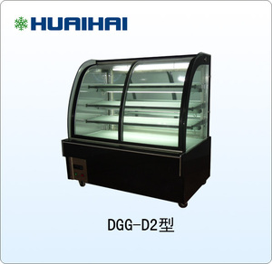 Gas refrigeration R404a curve glass in front cake display