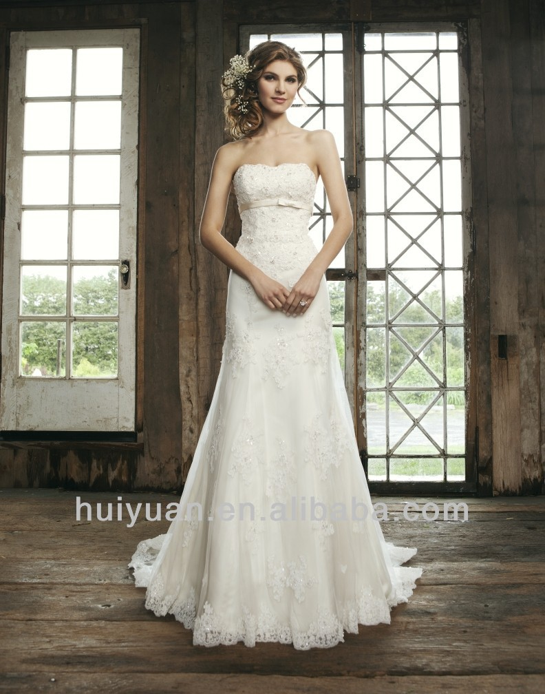 Strapless Empire Embroidered Bodice Off-white Lace Wedding Dress