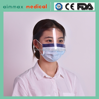 Aimmax high quality blue 3ply face mask with eye shield, earloop type