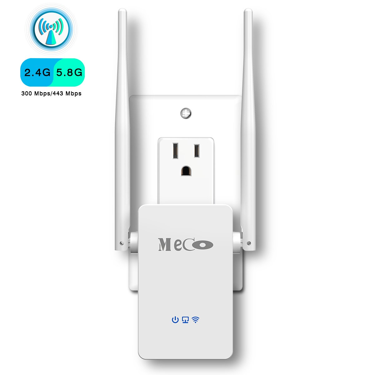 WiFi Range Extender, MECO AC750 WiFi Repeater Dual Band WiFi Signal Booster Amplifier 2.4/5GHz Supports Repeater/ Access Point/ Router Mode Easily Setup with Ethernet Port , Extends WiFi to Smart Home