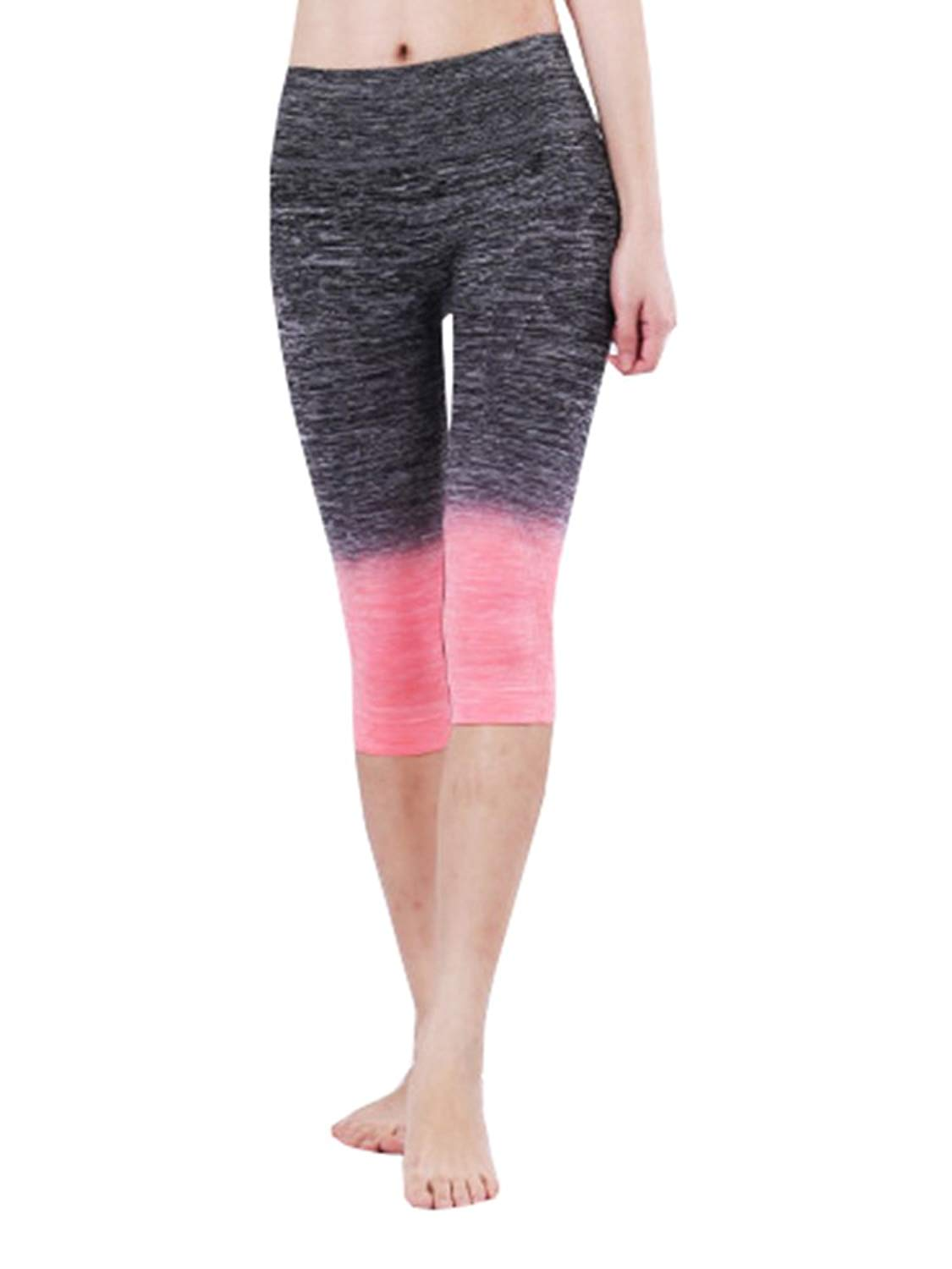 cfab3b81d65e52 Get Quotations · Pxmoda Womens Gradient Fitness Workout Cropped Pants Tummy  Control Leggings Yoga Pants