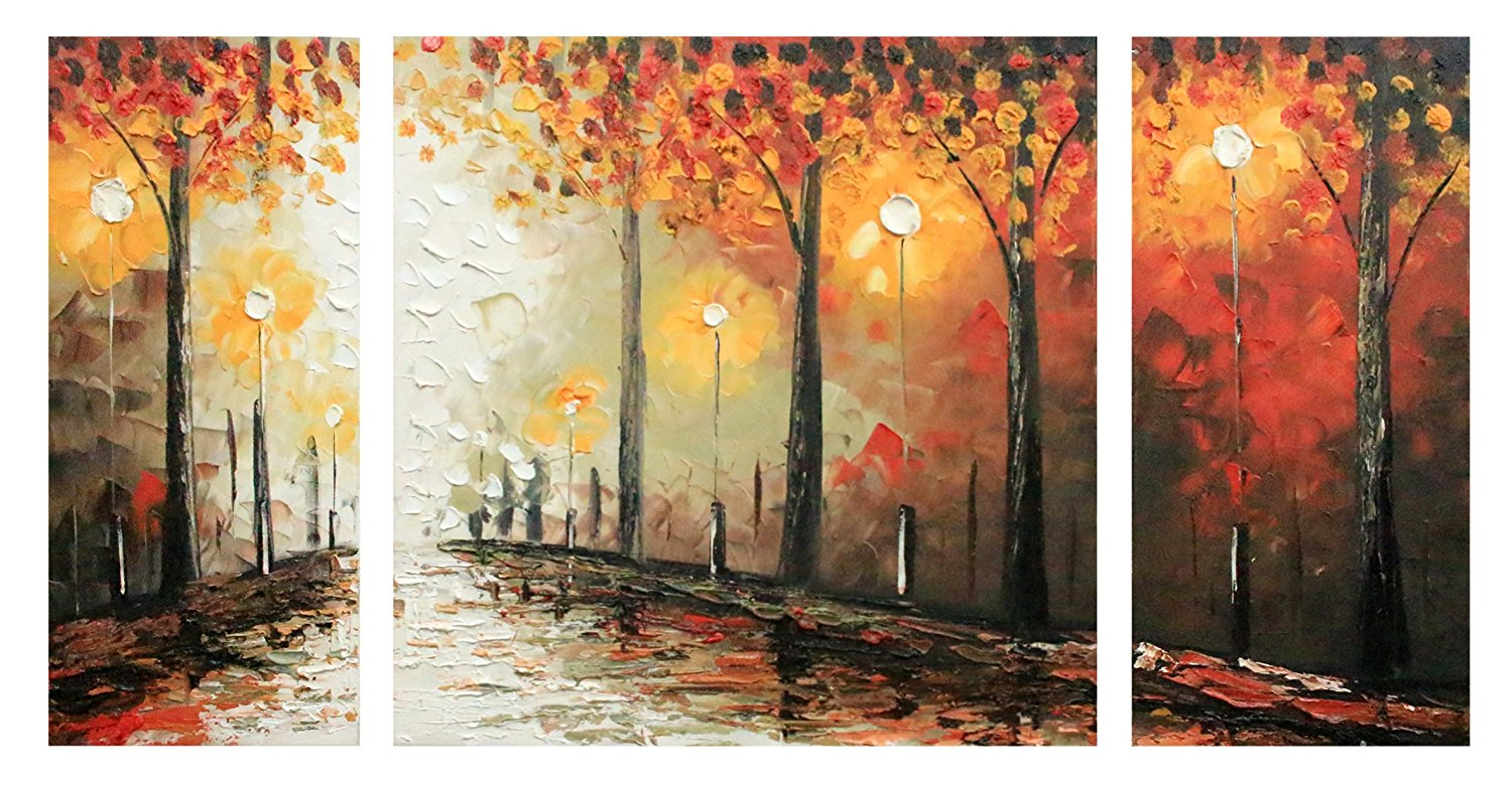 Ode-Rin Art Christmas Gift 100% Hand Painted Ode-Rin Art Christmas Gift Oil Paintings Gift Forest 3 Panels Wood Inside Framed Hanging Wall Decoration