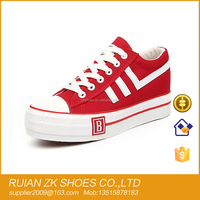 Canvas shoes Vulcanized Rubber sole Red color for woman