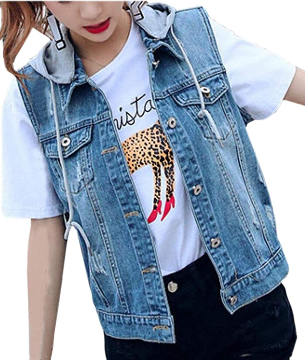 736a2f7bfd4f89 Get Quotations · Alion Jean Vest Womens Hooded Washed Denim Vest Sleeveless  Jacket