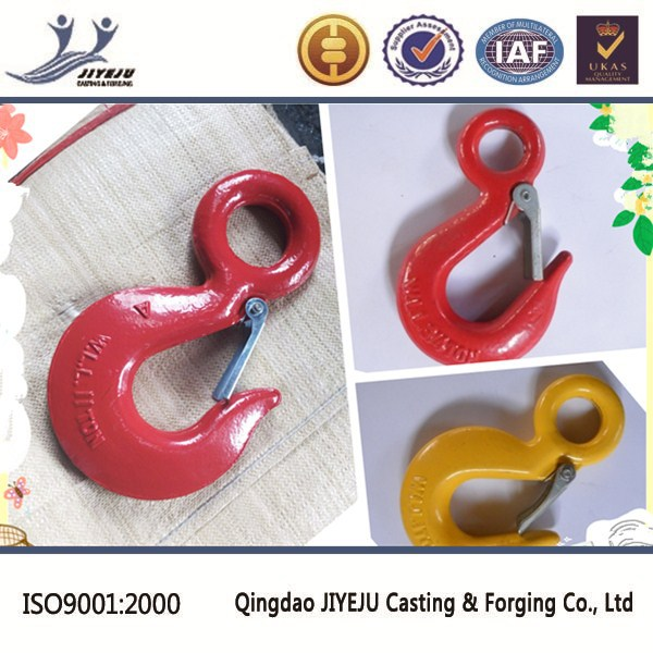 US type drop forged red color or galvanized G80 eye hook with latch