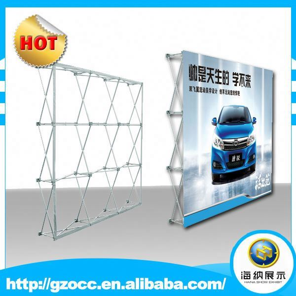 outdoor or indoor advertising aluminum frame pop up display banner with strenth sublimation tension fabric artwork