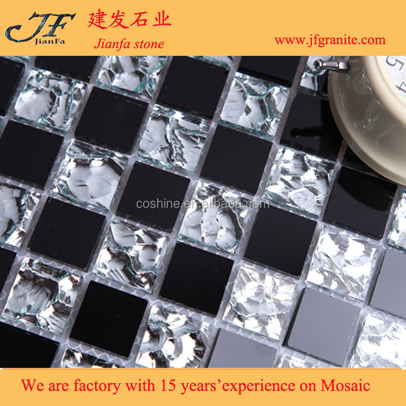 Asian glass black and white mosaic tiles on sale
