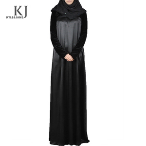 contemporary muslim turkey abaya black velvet fabric islamic women jilbabs with front bust corsage cheap wholesale