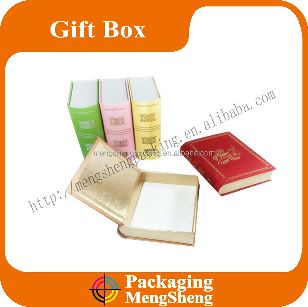 custom make book shape cardboard gift box