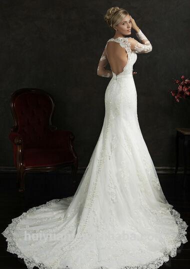 vestido de boda árabe sin respaldo de manga larga del nuevo cordón ...