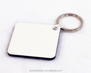 Rectangle 50x50mm MDF key chain ring with clip and hoop