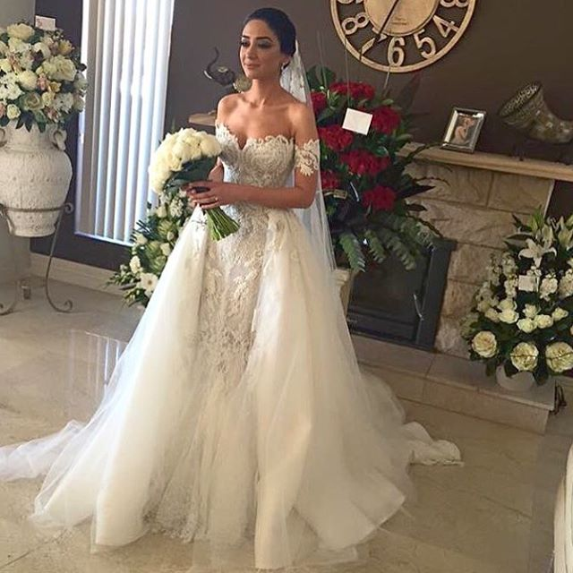 Us 299 0 Real Pictue Mermaid Wedding Dresses Detachable Skirt Strap Heavy Beaded 2 Piece Sexy Removable Wedding Gown Vestido De Casamento In Wedding