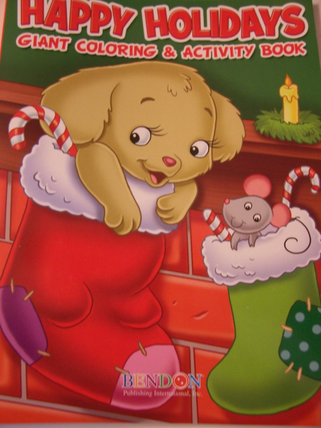 Happy Holidays 160 Page Giant Coloring and Activity Book ~ Christmas Edition (Puppy and Mouse in Stockings)