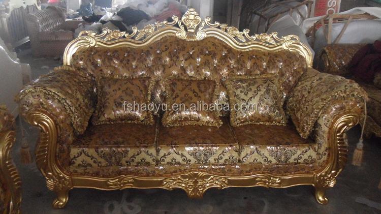 Royal living room sofa furniture golden dubai sofa design for Salon egyptien