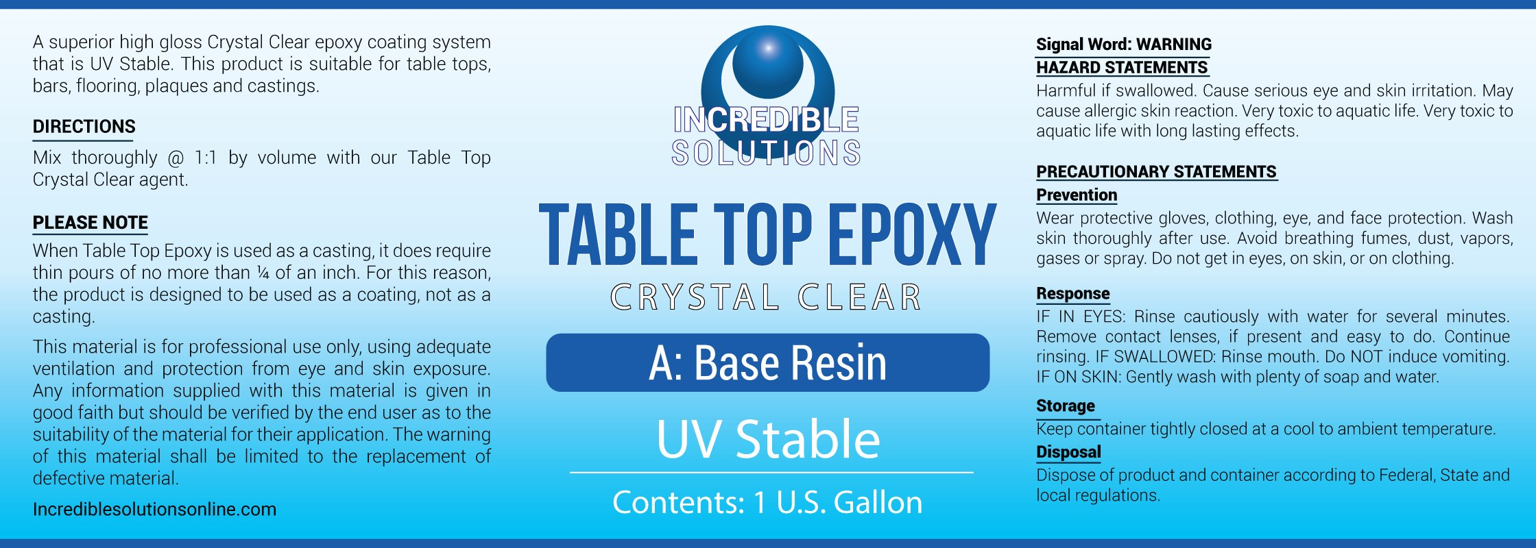 Table Top & Bar Top Epoxy Resin, Ultra Clear UV Stable Finish, 1-Gallon Kit, Self Leveling, Perfect for DIY Epoxy Counter Tops, Tabletops & Bars
