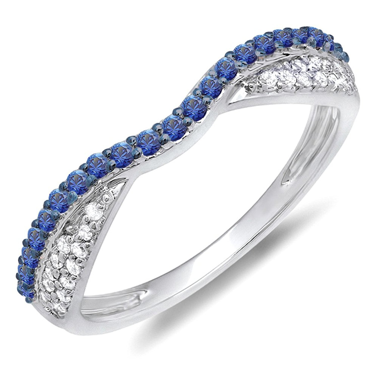 Dazzlingrock Collection 14K White Gold Round Blue Sapphire & White Diamond Ladies Wedding Band Stackable Ring (Size 4)
