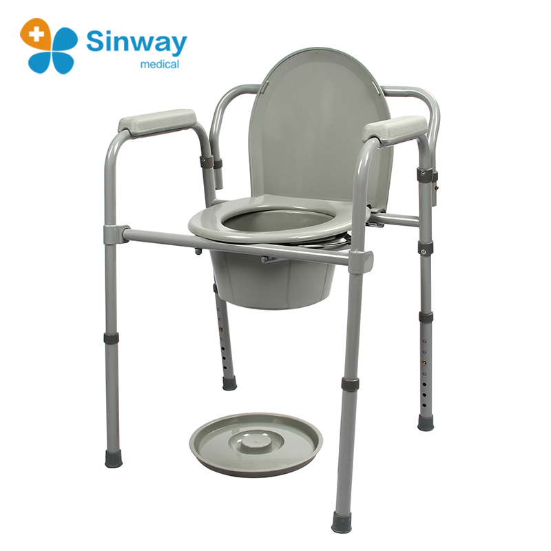 Portable Folding 3 In One Beside Commode Toilet Chair For ...