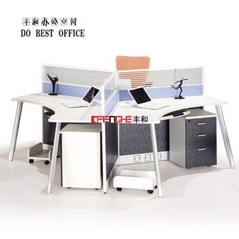 Modern 3 Person Office Cubicle Aluminum Alloy Parion Desk