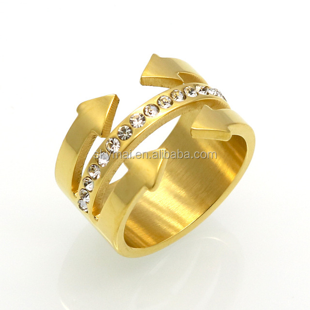 Hot Stainless Steel Arrow Unique Ring Multilayer Punk Gold Color Knuckle Rings for women Little Giant Finger Ring