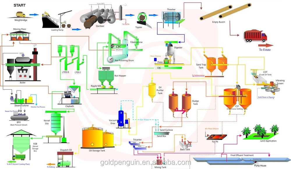 processing flow chart: 40tph palm oil mill/palm oil mill machine in  indonesia
