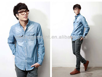 Trendy Light Blue Washed Cowboy/denim Casual Shirts For Men With ...