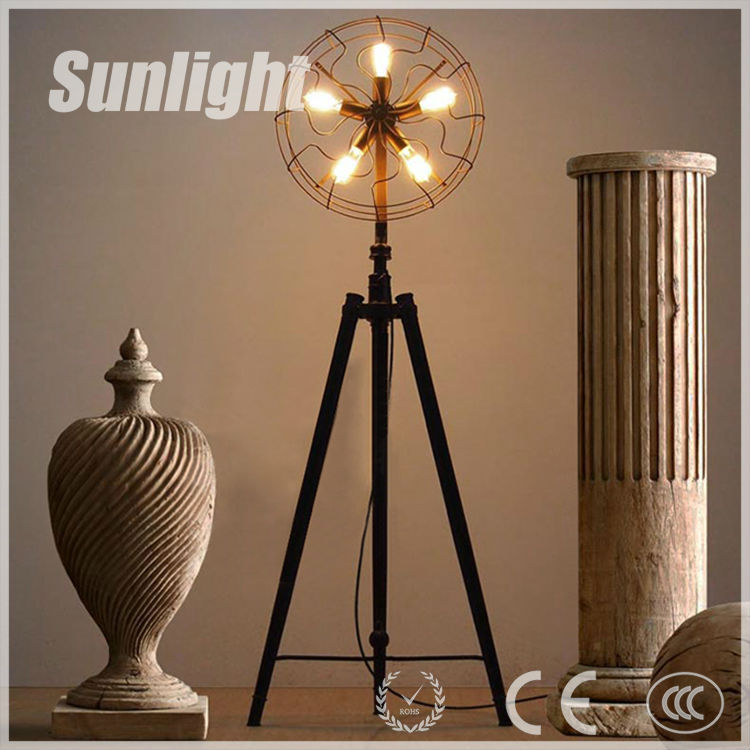 Vintage Industrial Black Tripod Fan Shape Metal Floor Lamp For ...
