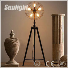 Vintage Industrial black tripod fan shape metal floor lamp for coffee shop