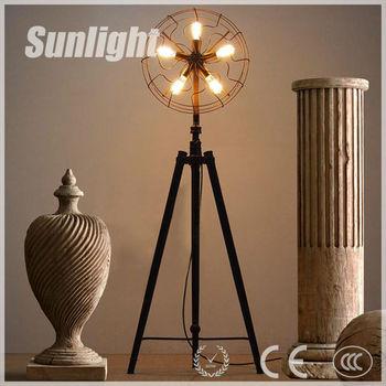 Vintage Industrial Black Tripod Fan Shape Metal Floor Lamp