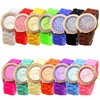 2015 Hot Selling New Design Geneva Crystal Silicone Watch Lady