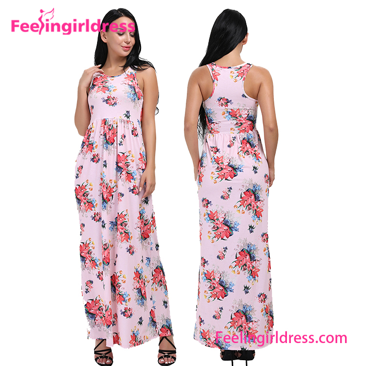 USA Warehouse Delive Elegant Summer Sleeveless Print Floral Evening Long Dress Women Maxi Length