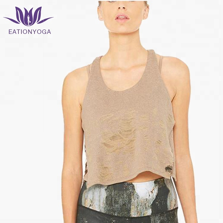 a7f0bfffc5ba Stylish Women Workout Clothes Distressed Sexy Dance Crop Top ...