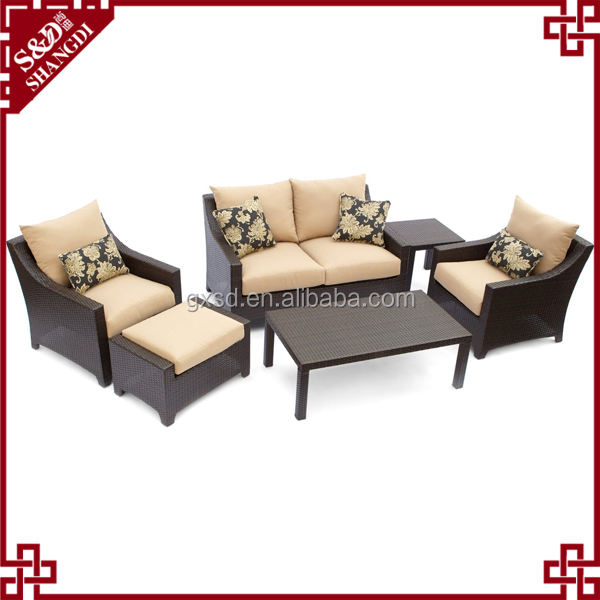 S&D Urban Furnishing Modern Indoor Backyard Wicker Rattan Patio Furniture Sofa Sectional Couch Set