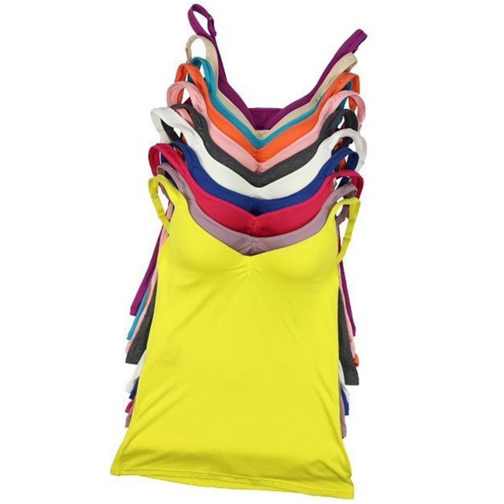 0390cd70e9 Get Quotations · Modal Adjustable Womens Strap Built In Bra Padded Bra Tank  Top Camisole Cami