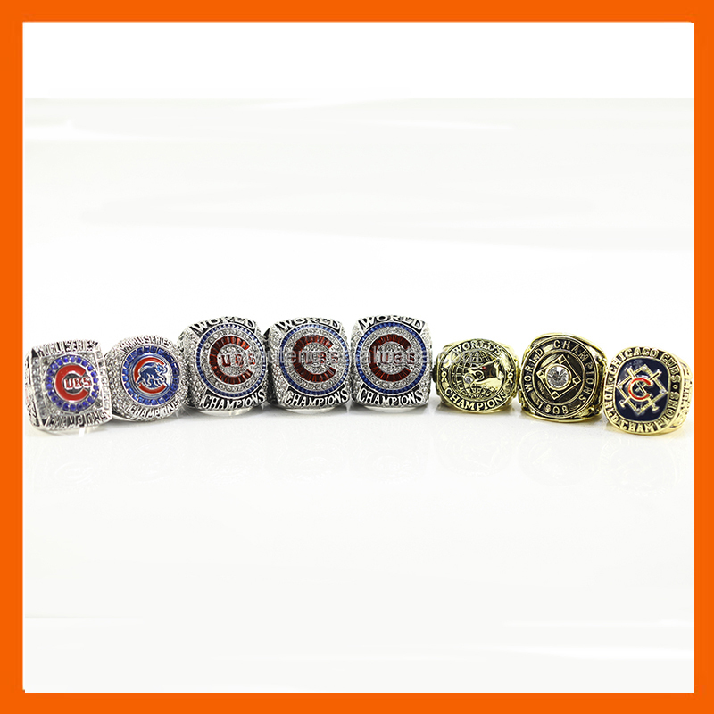 LT JEWELRY 1907 1908 2016 CUSTOM DESIGN CHICAGO CUBS BASEBALL WORLD SERIES CHAMPIONSHIP RING, 7PC RINGS AS A SET