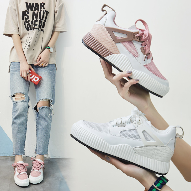 ZH0882E Fashion summer women breathable mesh Inner heightening casual shoes platform bandage sneakers