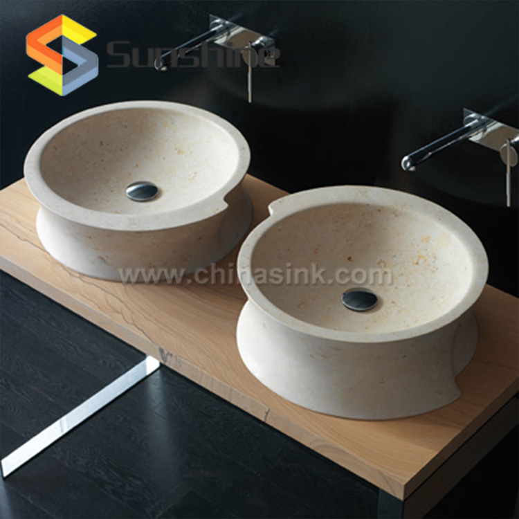 New Crema Marfil Beige Marble Stone Bathroom Washing Sink