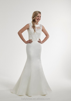 Zm16133 2016 Fashion Satin Wedding Dress Mermaid High Neckline European Style