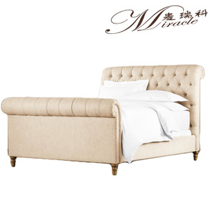 American style button fabric sleigh bed