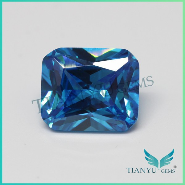11*13mm Octagon blue cubic zirconia gem stone beads wholesale