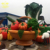 Hot Sale Large Size Colorful Fiberglass Cartoon Fruit And Basket Sculpture